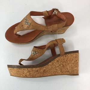 Lucky Brand Wedge Sandals tan size 9.5 (#35)